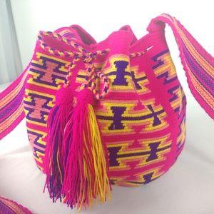 Tribal Aztec Bucket Bag Pink w/ Tassels
